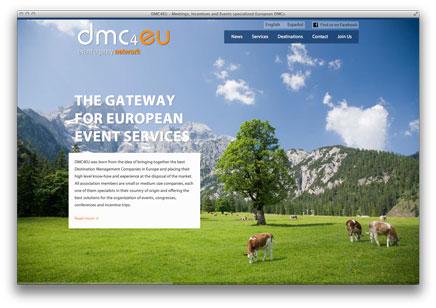 dmc4eu Webseite mit Alpenhintergrund